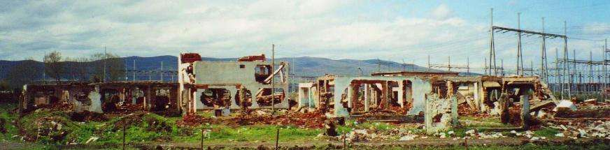 blown up village near pristina kosovo  photo image