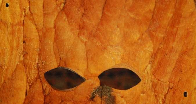 holes in zulu mask south africa  photo