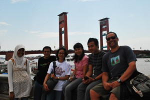 Wongkito at the Ampera Bridge Palembang Indonesia