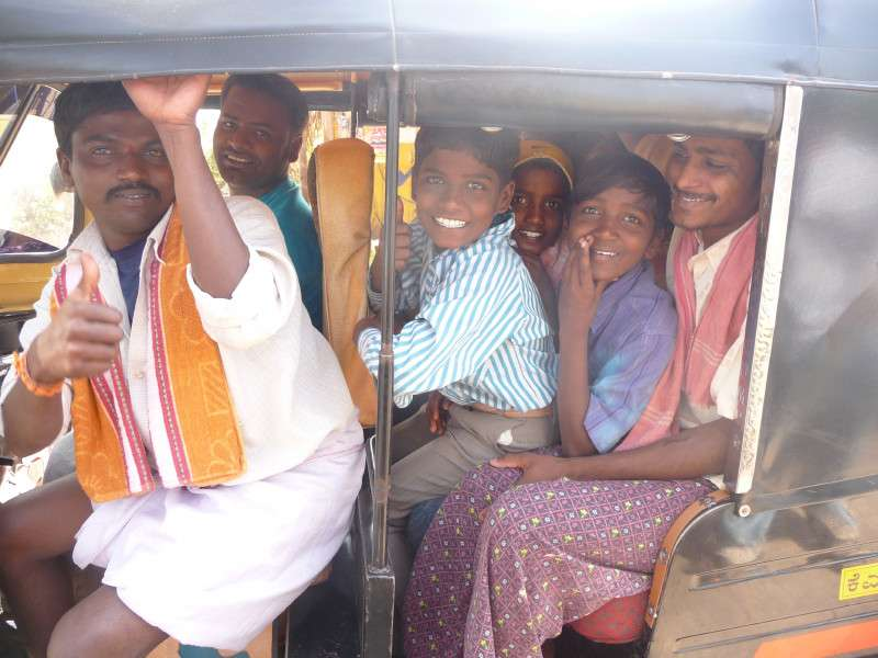 Auto Rickshaw Family Transport Funny Travel Photo Delhi India india  photo image