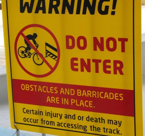 Vancouver Winter Olympics 2010 Bobsleigh Track Warning Sign travel photography  photo image