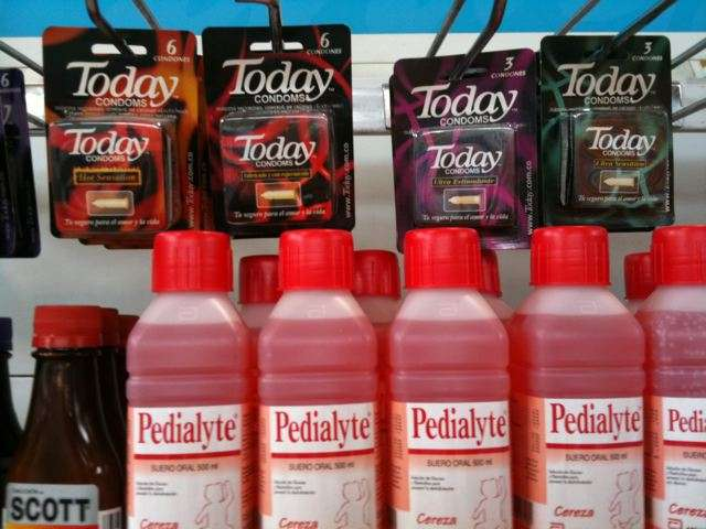 Condoms and Pedialyte colombia  photo image