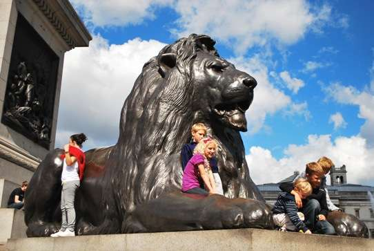 Trafalgar Square Lion London Walks england  photo