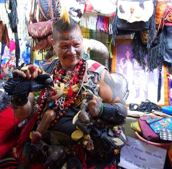 Weird People Photo Blind Punk Chatuchak Market Bangkok Thailand thailand  photo