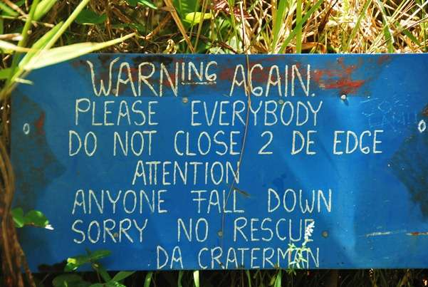 Warning Sign Volano Crater samoa  photo image