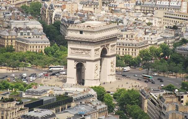 Arc De Triomphe Paris France Crazy Traffic Tour De France france  photo
