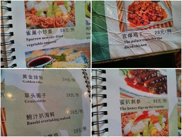 Bizarre Menu china  photo image