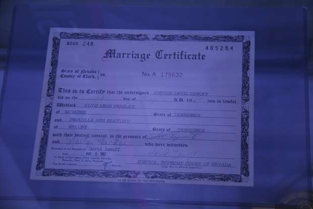 Elvis and Priscilla Marriage Certificate australia  photo
