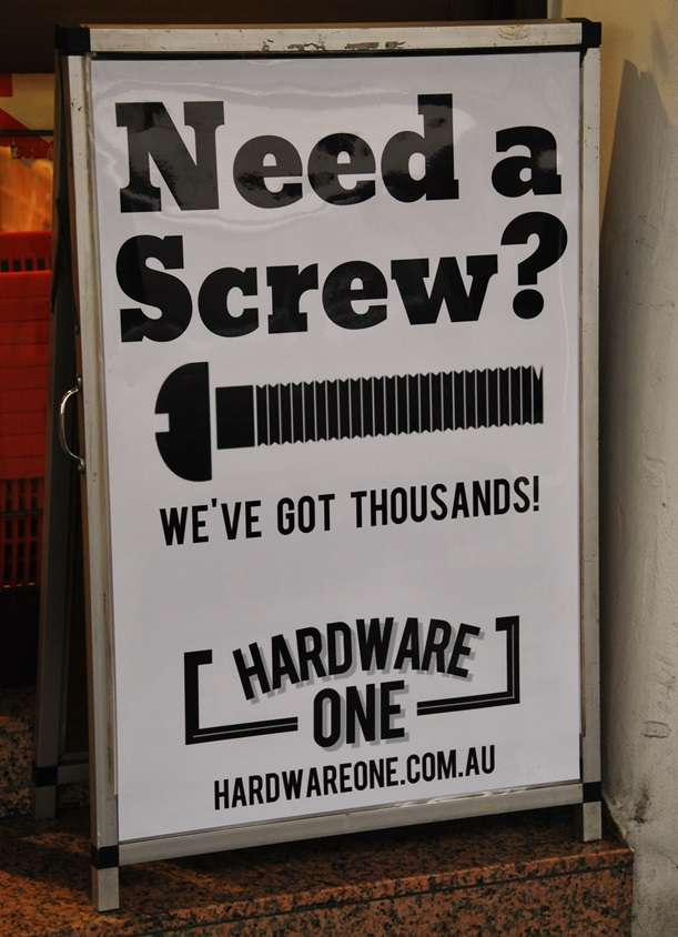 Need a Screw Funny Hardware Store Sign