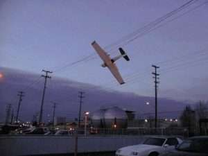 Plane in overhead powerlines