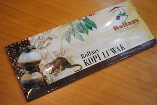 Sachet of Kopi Luwak Coffee from Rollaas Cafe indonesia pestablogger 2009  photo image