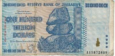 Zimbabwe Dollar - One Hundred Trillion Dollars