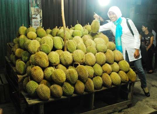 Suzan With Durian in Palembang Indonesia