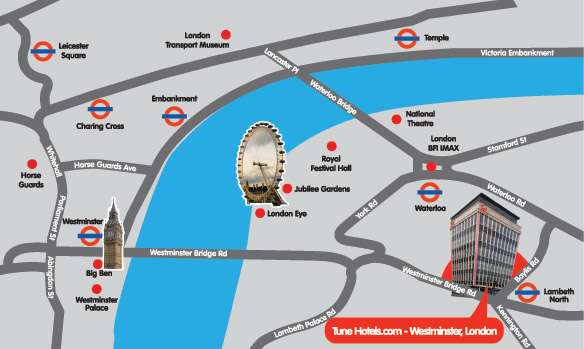 Accommodation in London England Tune Hotels – Map Of London England With Tourist Attractions